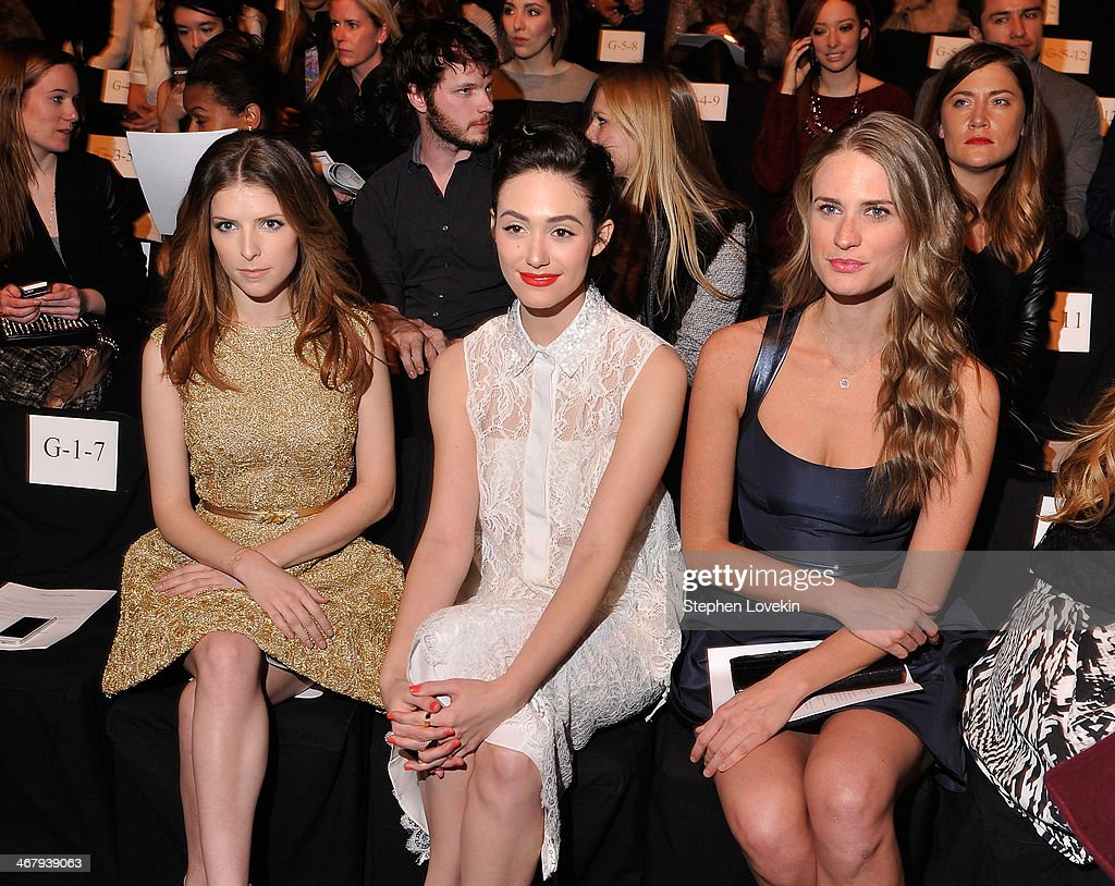<a gi-track='captionPersonalityLinkClicked' href=/galleries/search?phrase=Anna+Kendrick&family=editorial&specificpeople=3244893 ng-click='$event.stopPropagation()'>Anna Kendrick</a>, <a gi-track='captionPersonalityLinkClicked' href=/galleries/search?phrase=Emmy+Rossum&family=editorial&specificpeople=202563 ng-click='$event.stopPropagation()'>Emmy Rossum</a> and <a gi-track='captionPersonalityLinkClicked' href=/galleries/search?phrase=Julie+Henderson&family=editorial&specificpeople=4154524 ng-click='$event.stopPropagation()'>Julie Henderson</a> attend the Monique Lhuillier fashion show during Mercedes-Benz Fashion Week Fall 2014 at The Theatre at Lincoln Center on February 8, 2014 in New York City.