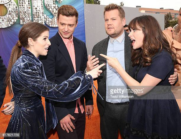 Anna Kendrick Justin Timberlake James Corden and Zooey Deschanel attend the premiere Of 20th Century Fox's 'Trolls' at Regency Village Theatre on...