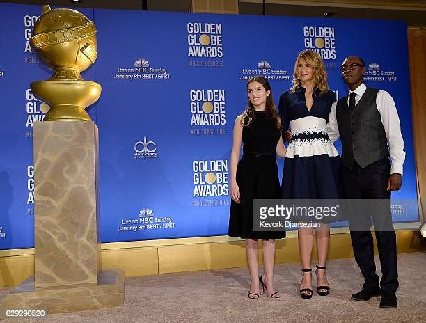 Anna Kendrick Laura Dern and Don Cheadle announce nominations for the 74th Annual Golden Globe Awards at The Beverly Hilton Hotel on December 12 2016...