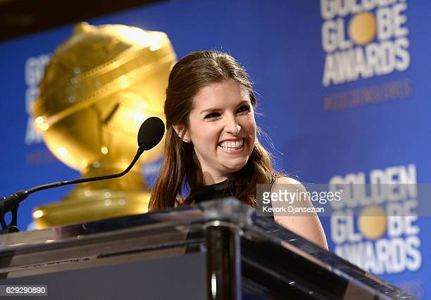 Anna Kendrick speaks during the Nominations Announcement For The 74th Annual Golden Globe Awards at The Beverly Hilton Hotel on December 12 2016 in...