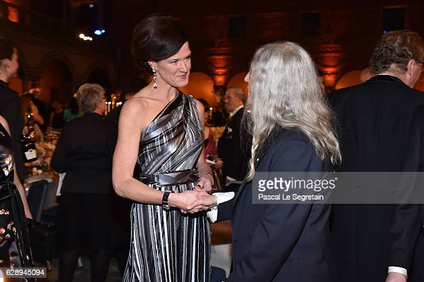 Anna Kinberg Batra and Patti Smith attend the Nobel Prize Banquet 2015 at City Hall on December 10 2016 in Stockholm Sweden