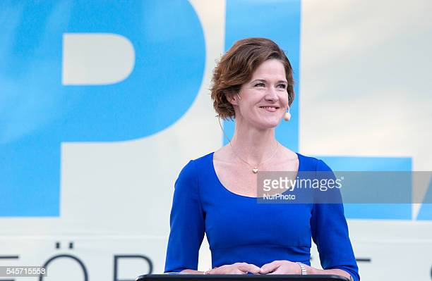 Anna Kinberg Batra leader for Sweden's conservative party Moderaterna holds a speech at Almedalen Week in Visby on July 9 2016 announcing her...