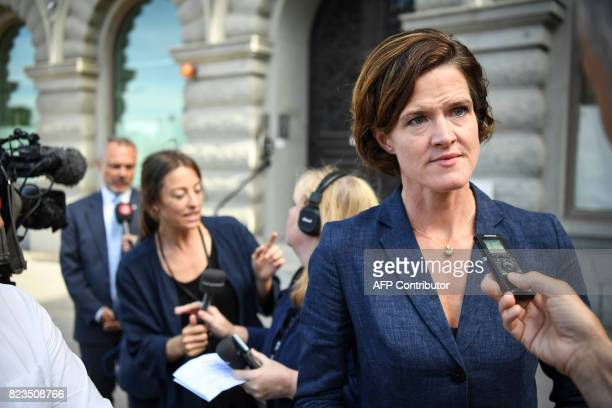 Anna Kinberg Batra leader of the oppositional Moderate Party comments on the government reshuffle in Stockholm on July 27 2017 Prime minister Stefan...