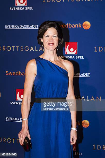 Anna Kinberg Batra leader of the Swedish Moderate party poses for a picture on the red carpet before attending the 2017 Sweden Sports Gala held at...