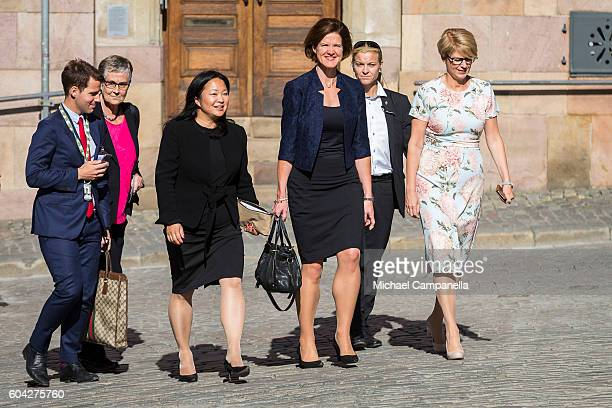 Anna Kinberg Batra of the Moderate party attend a ceremony at Storkyrkan in connection with the opening session of the Swedish parliament on...