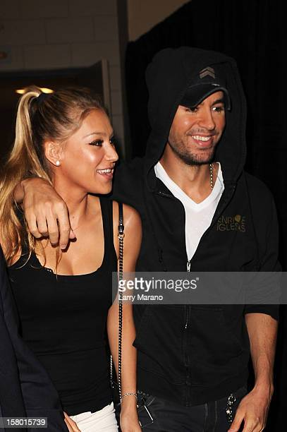 Anna Kournikova and Enrique Iglesias attend the Y100's Jingle Ball 2012 at the BBT Center on December 8 2012 in Miami