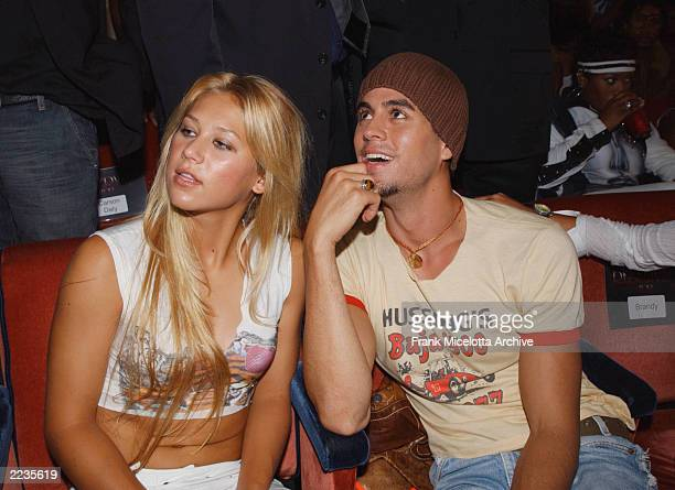 Anna Kournikova and Enrique Iglesias in the audience attending the 2002 MTV Video Music Awards at Radio City Music Hall in New York City August 29...