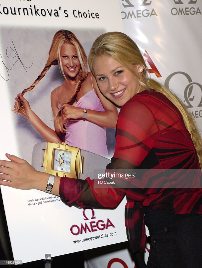 <a gi-track='captionPersonalityLinkClicked' href=/galleries/search?phrase=Anna+Kournikova&family=editorial&specificpeople=176472 ng-click='$event.stopPropagation()'>Anna Kournikova</a> during <a gi-track='captionPersonalityLinkClicked' href=/galleries/search?phrase=Anna+Kournikova&family=editorial&specificpeople=176472 ng-click='$event.stopPropagation()'>Anna Kournikova</a> Ad Campaign for Omega Watches at ESPN Zone Restaurant in New York City, New York, United States.