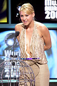Anna Kournikova presents the 'Best Selling Russia Artist' award onstage at the 2005 World Music Awards at the Kodak Theatre on August 31 2005 in...