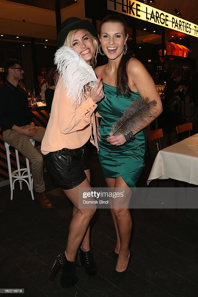 Anna Kraft and Laura Wontorra attend the Lazy Moon Dinner Club opening party on February 20, 2013 in Munich, Germany.