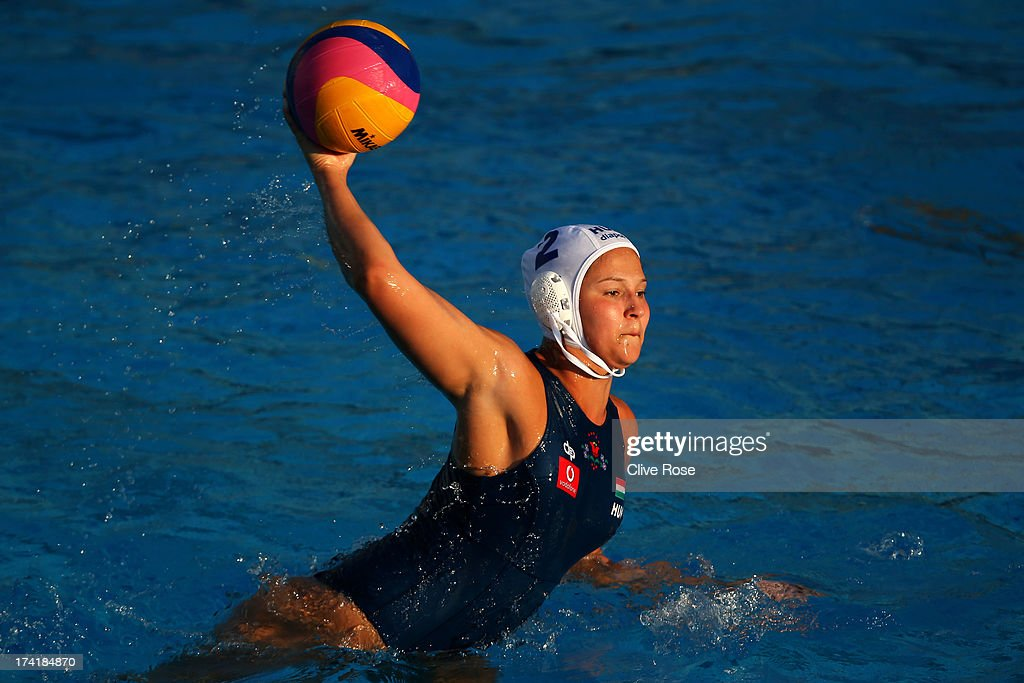 Anna Krisztina Illes of Hungary in action during the Women's Water Polo first preliminary round match between Hungary and Brazil during Day Two of the 15th FINA World Championships at Piscines Bernat Picornell on July 21, 2013 in Barcelona, Spain.