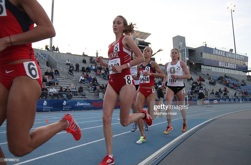Anna Lamb of the Miami University Red Hawks runs in the Women's 10000-meter at the Drake Relays, on April 25, 2013 at Drake Stadium, in Des Moines, Iowa.