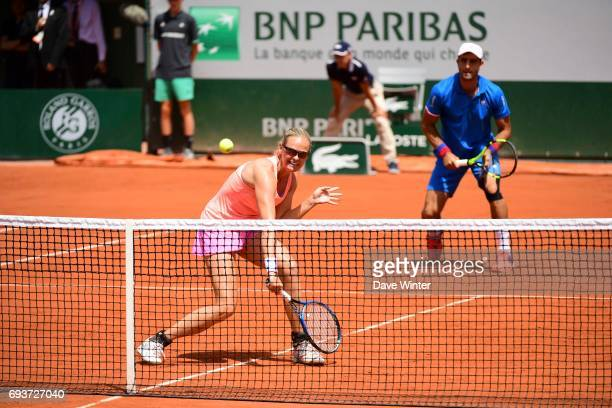 Anna Lena Groenefeld and Robert Farah during day 12 of the French Open at Roland Garros on June 8 2017 in Paris France