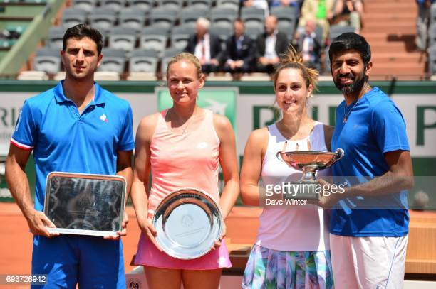 Anna Lena Groenefeld and Robert Farah with Gabriela Dabrowski and Rohan Bopanna during day 12 of the French Open at Roland Garros on June 8 2017 in...