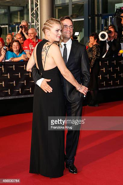Anna Loos and Jan Josef Liefers attend the red carpet of the Deutscher Fernsehpreis 2014 on October 02 2014 in Cologne Germany