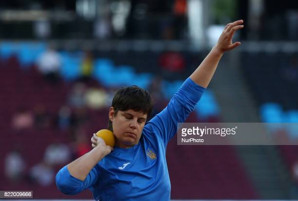 Anna Luxova of Czechoslovakia compete Women's Shot Put F35 Final during World Para Athletics Championships at London Stadium in London on July 21 2017