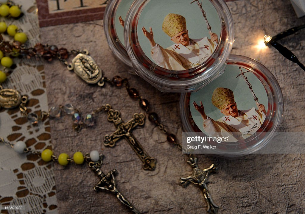 Anna Maria Basquez displayed a collection of rosary beads at her home in Northglenn, CO February 27, 2013. The beads were blessed by Pope Benedict XVI when Basquez attended World Youth Day in Madrid in 2011.