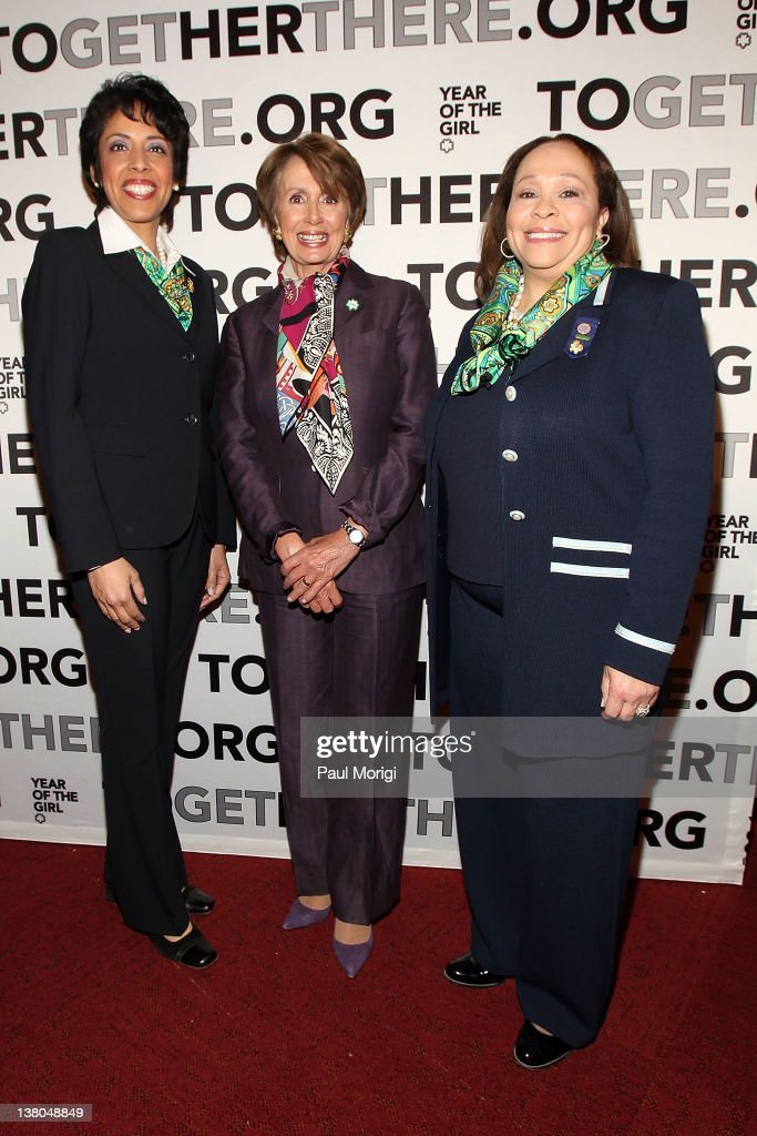 Anna Maria Chavez, Chief Executive Officer of Girl Scouts of the USA, House Democratic Leader <a gi-track='captionPersonalityLinkClicked' href=/galleries/search?phrase=Nancy+Pelosi&family=editorial&specificpeople=169883 ng-click='$event.stopPropagation()'>Nancy Pelosi</a> and Connie L. Lindsey, National President, Girl Scouts of the USA, pose for a photo at Girl Scouts At 100: The Launch of ToGetHerThere at Capitol Hill Cannon House Office Bldg, Caucus Room on February 1, 2012 in Washington, DC.