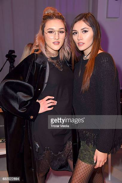 Anna Maria Damm and her sister Katharina Damm attend the Marcel Ostertag show during the MercedesBenz Fashion Week Berlin A/W 2017 at Delight Rental...