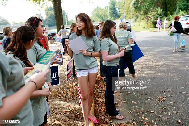 Anna Maria Hoffman of Alexandria Va Mallory Quigley of Falls Church Va Joanna Ro of Fairfax Va and Rachel Green of Fairfax Va campaign for Virginia...