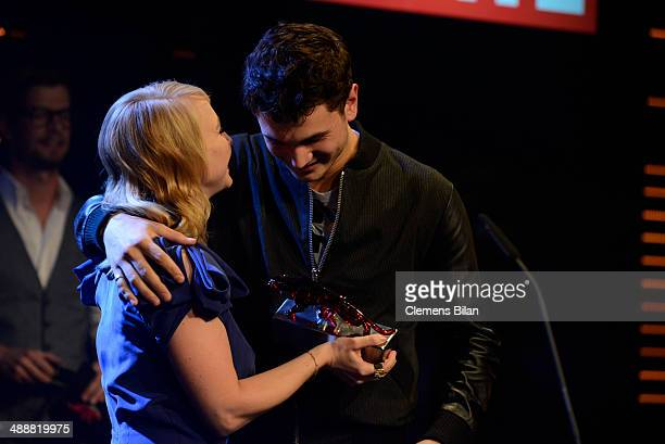 Anna Maria Muehe and Samuel Schneider attends Leonardo at the New Faces Award Film 2014 at eWerk on May 8 2014 in Berlin Germany