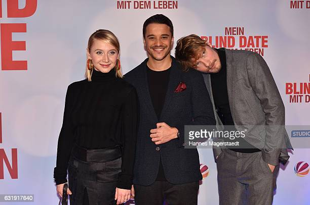 Anna Maria Muehe Kostja Ullmann and Jacob Matschenz during the 'Mein Blind Date mit dem Leben' Munich Premiere at Mathaeser Filmpalast on January 17...