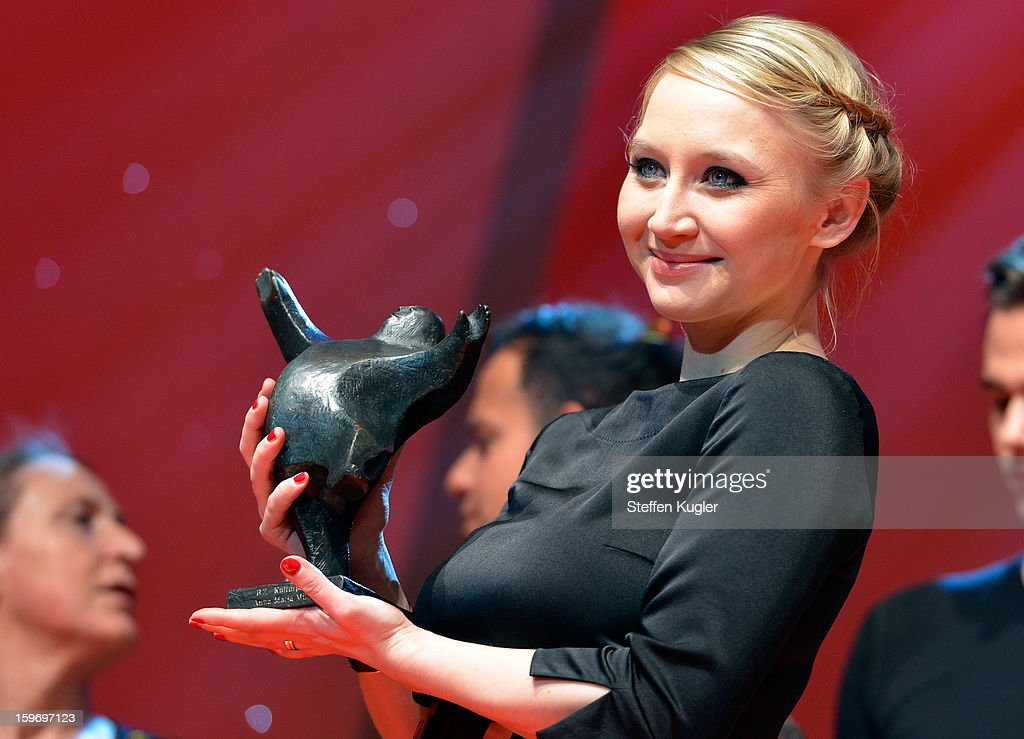 Anna Maria Muehe poses with her award after the show at the B.Z. Kulturpreis on January 18, 2013 in Berlin, Germany.