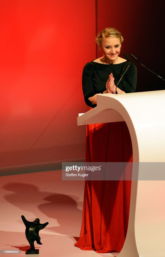 Anna Maria Muehe receives an award at the B.Z. Kulturpreis on January 18, 2013 in Berlin, Germany.