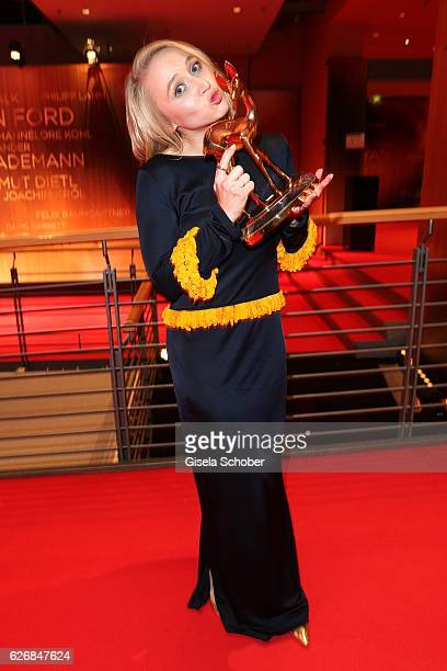 Anna Maria Muehe with award during the Bambi Awards 2016 at winners board at Stage Theater on November 17 2016 in Berlin Germany