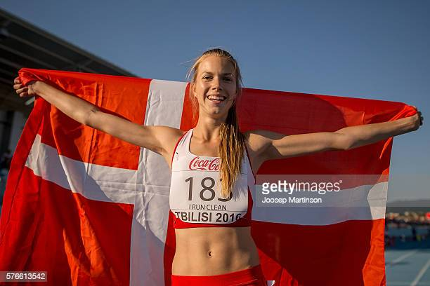 Anna Mark Helwigh of Denmark poses after winning the Girls 2000m Steeplechase final during European Athletics Youth Championships on July 16 2016 in...