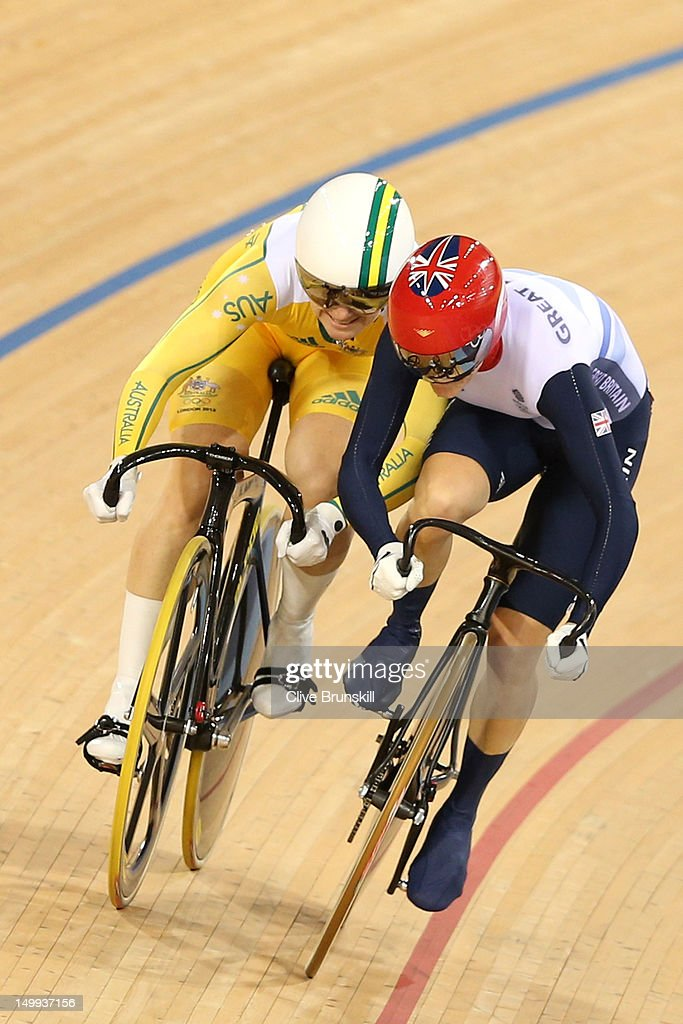 Anna Meares (L) of Australia and Victoria Pendleton of Great Britain compete in Race 1 of the Women's Sprint Track Cycling Final on Day 11 of the London 2012 Olympic Games at Velodrome on August 7, 2012 in London, England.