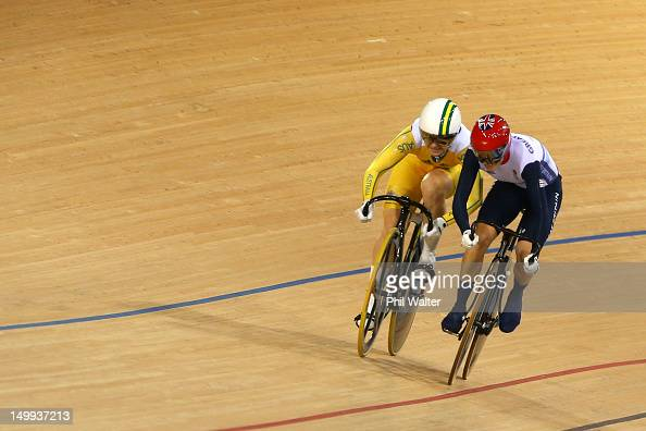 Anna Meares of Australia and Victoria Pendleton of Great Britain compete in Race 1 of the Women's Sprint Track Cycling Final on Day 11 of the London...