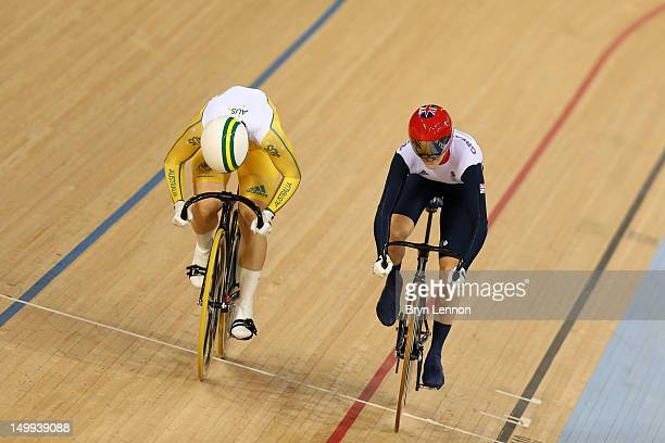 Anna Meares of Australia and Victoria Pendleton of Great Britain compete in the Women's Sprint Track Cycling Final on Day 11 of the London 2012...