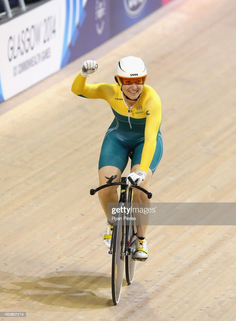 <a gi-track='captionPersonalityLinkClicked' href=/galleries/search?phrase=Anna+Meares&family=editorial&specificpeople=171175 ng-click='$event.stopPropagation()'>Anna Meares</a> of Australia celebrates after winning the Womens 500m Sprint Final at Sir Chris Hoy Velodrome during day one of the Glasgow 2014 Commonwealth Games on July 24, 2014 in Glasgow, United Kingdom.