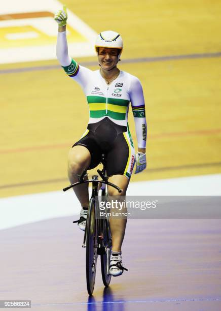 Anna Meares of Australia celebrates after winning the Women's 500m TT on day two of the UCI Track Cycling World Cup at the Manchester Velodrome on...