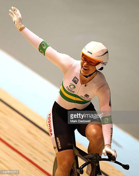 Anna Meares of Australia celebrates breaking the world record in the Womens 500m Time Trial during day five of the 2012 UCI Track Cycling World...