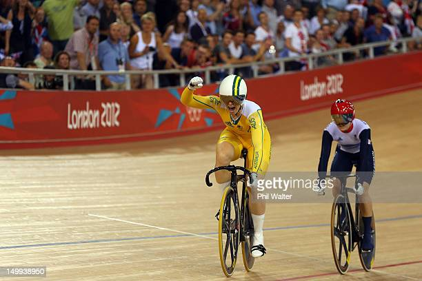 Anna Meares of Australia celebrates winning the Gold medal ahead of Victoria Pendleton of Great Britain in the Women's Sprint Track Cycling Final on...