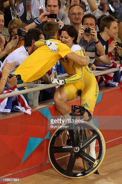 Anna Meares of Australia celebrates winning the Gold medal in the Women's Sprint Track Cycling Final on Day 11 of the London 2012 Olympic Games at...