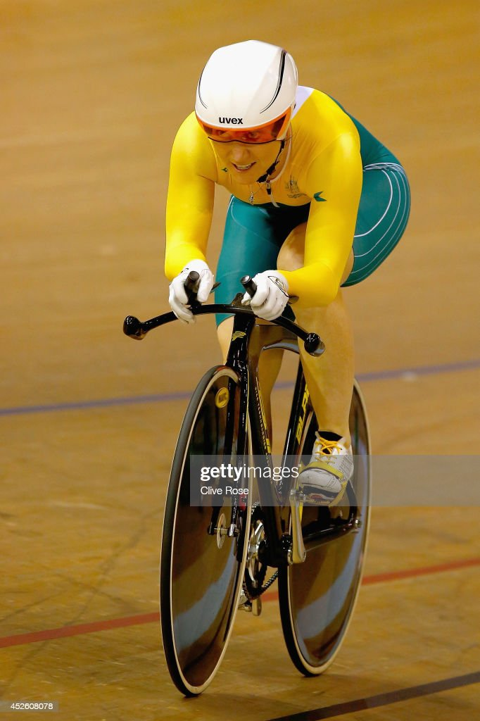 <a gi-track='captionPersonalityLinkClicked' href=/galleries/search?phrase=Anna+Meares&family=editorial&specificpeople=171175 ng-click='$event.stopPropagation()'>Anna Meares</a> of Australia competes in the Women's 500m Time Trial at Sir Chris Hoy Velodrome during day one of the Glasgow 2014 Commonwealth Games on July 24, 2014 in Glasgow, Scotland.