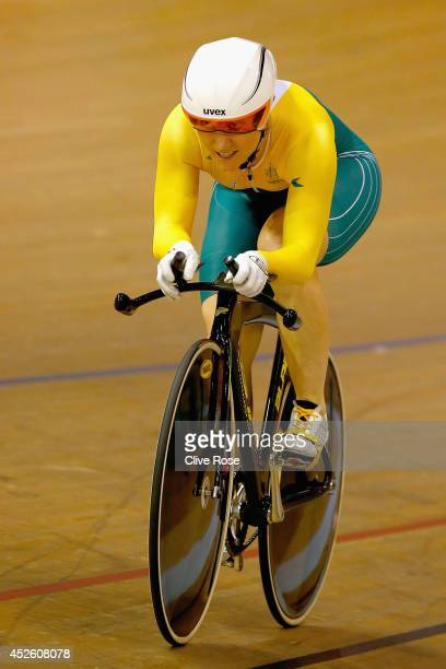 Anna Meares of Australia competes in the Women's 500m Time Trial at Sir Chris Hoy Velodrome during day one of the Glasgow 2014 Commonwealth Games on...