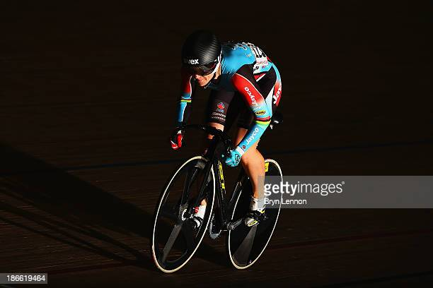 Anna Meares of Australia in action in race one of the Women's Sprint Quarter Finals on day two of the UCI Track Cycling World Cup at Manchester...