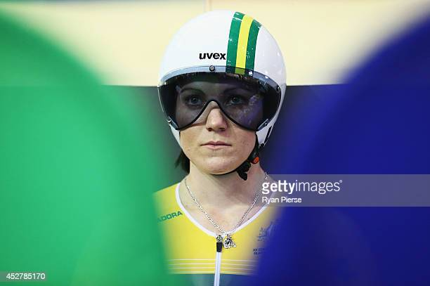 Anna Meares of Australia prepares for the Women's Sprint Final at Sir Chris Hoy Velodrome during day four of the Glasgow 2014 Commonwealth Games on...