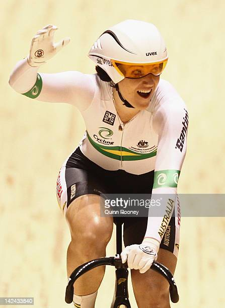 Anna Meares of Australia reacts after breaking the world record in the Women's Sprint during day two of the 2012 UCI Track Cycling World...