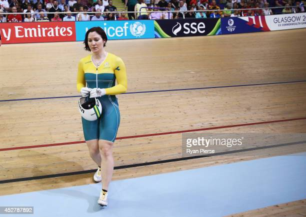 Anna Meares of Australia reacts after she was defeated by Stephanie Morton of Australia in the Women's Sprint Final at Sir Chris Hoy Velodrome during...
