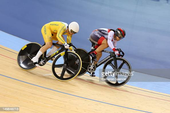 Anna Meares of Australia wins her heat against Kayono Maeda of Japan in the Women's Sprint Track Cycling 1/16 Finals on Day 9 of the London 2012...