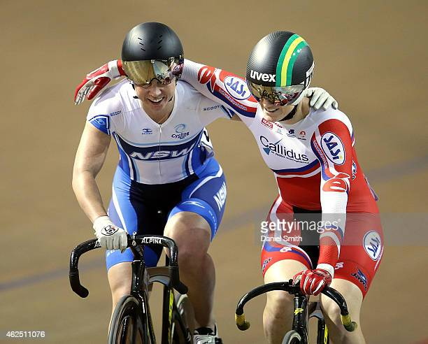 Anna Meares of South Australia congratulates Kaarle Mcculloch of New South Wales after winning the Women's Sprint during the 2015 National Track...
