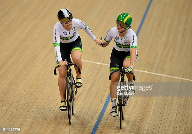 Anna Mears of Austrlia celebrates her win in the Women's Sprint over Stephanie Morton of Australia during Day Five of the UCI Track Cycling World...