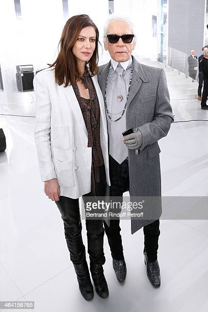 Anna Mouglalis and Fashion designer Karl Lagerfeld pose backstage after the Chanel show as part of Paris Fashion Week Haute Couture Spring/Summer...