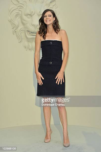 Anna Mouglalis attends the Chanel show as part of the Paris Haute Couture Fashion Week Fall/Winter 2011 on July 6 2010 in Paris France