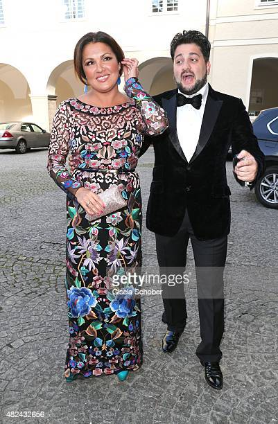 Anna Netrebko and her fiance Yusif Eyvazov attend the 40 year stage anniversary of Placido Domingo during the Salzburg Festival on July 30 2015 in...